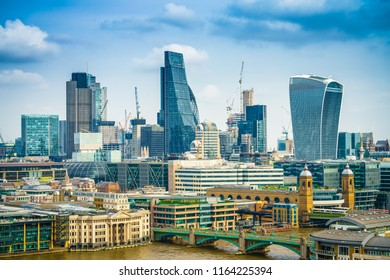 Aerial view of skyscrapers of the world famous bank district of central London