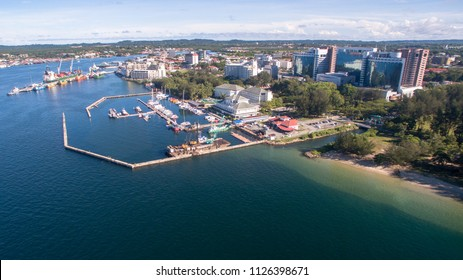 Aerial view of skyscrapers,modern architecture & sea in Labuan island Pearl of Borneo,Malaysia.It is a Federal Territory of Malaysia.