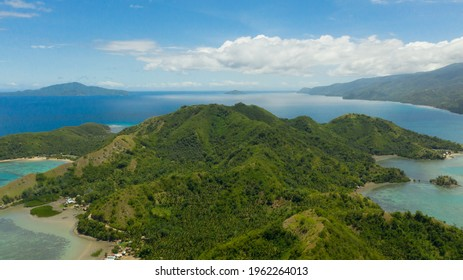Aerial view of Sleeping dinosaur island of Mati Davao Oriental Philippines. One of the known tourist spot of that area. Philippines, Mindanao.