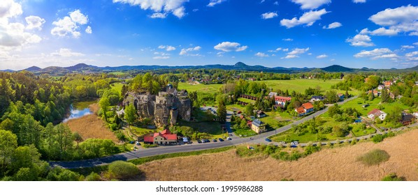 Aerial view of Sloup Castle in Northern Bohemia, Czechia. Sloup rock castle in the small town of Sloup v Cechach, in the Liberec Region, north Bohemia, Czech Republic.  - Shutterstock ID 1995986288