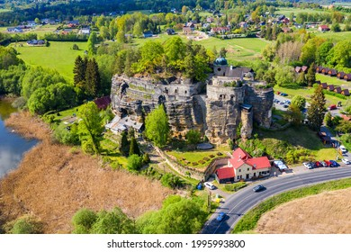 Aerial view of Sloup Castle in Northern Bohemia, Czechia. Sloup rock castle in the small town of Sloup v Cechach, in the Liberec Region, north Bohemia, Czech Republic.  - Shutterstock ID 1995993800