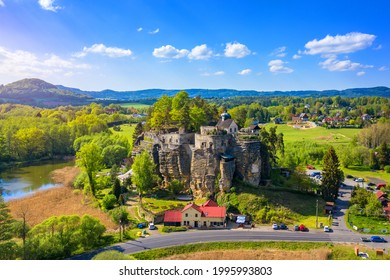 Aerial view of Sloup Castle in Northern Bohemia, Czechia. Sloup rock castle in the small town of Sloup v Cechach, in the Liberec Region, north Bohemia, Czech Republic.  - Shutterstock ID 1995993803