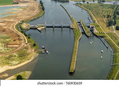 Aerial view of sluice Prinses Maxima in river Maas near the town of Lith, Holland.