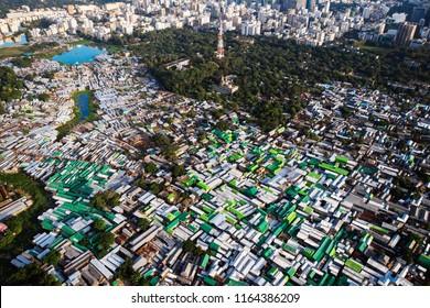Aerial view of slums of Dhaka, Bangladesh during the morning