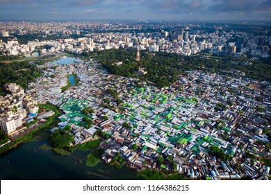 Aerial view of slums of Dhaka, Bangladesh during the morning