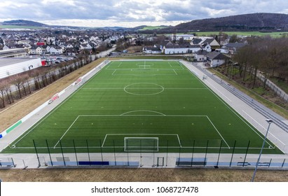 Aerial view of a smal sports soccer football field in a village near andernach koblenz neuwied in Germany