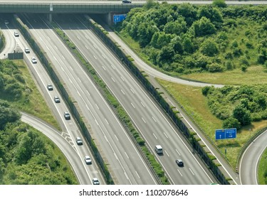 Aerial view from a small aircraft on the A2 motorway in the north of the city of Braunschweig, Germany