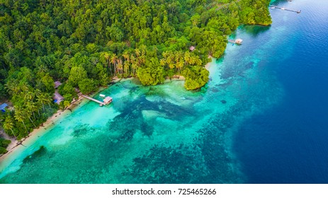 Aerial view of small bay in Raja Ampat, West Papua, Indonesia.