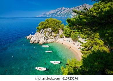 aerial view of the small beautiful Podrace beach in Brela, Makarska Riviera, Croatia