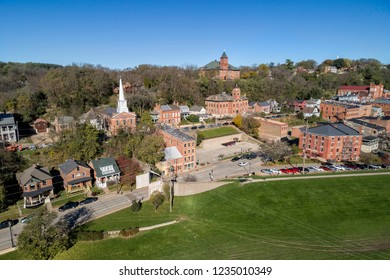 Aerial view of small historic town Galena in Illinois, United States