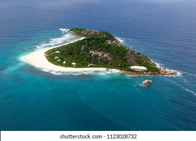 Aerial view of the small island Cousine, Seychelles in the Indian Ocean.