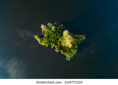 Aerial view of small island in the lake.