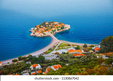 Aerial view of the small islet Sveti Stefan. Location Montenegro, Balkans, Adriatic sea, Europe. Scenic image of most popular tourist attraction. Unique place on earth. Explore the world's beauty.