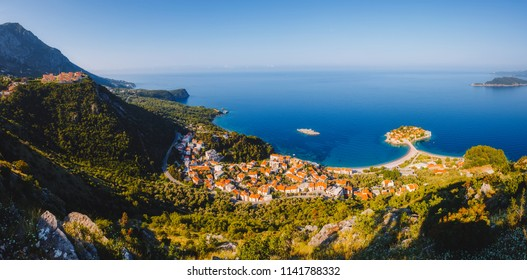 Aerial view of the small islet Sveti Stefan. Location place church of St. Sava, Montenegro, Balkans, Adriatic sea, Europe. Scenic image of most popular travel destination. Explore the world's beauty.