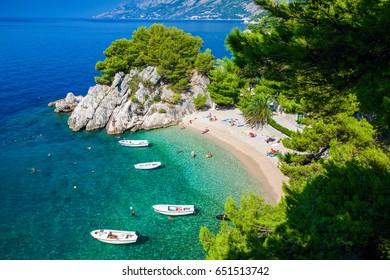aerial view of the small Podrace beach in Brela, Makarska Riviera, Croatia