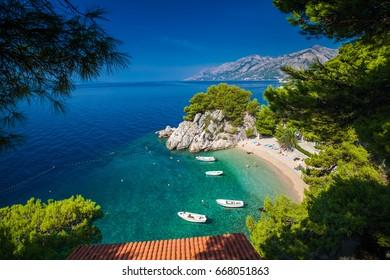 aerial view of the small Podrace beach in Brela, Croatia