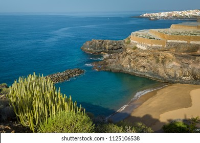 Aerial view of small sand beach at Tenerife coast. Canary islands, Spain.
