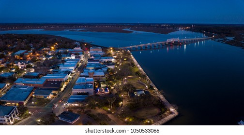 Aerial view of small town of Beaufort, South Carolina at night.