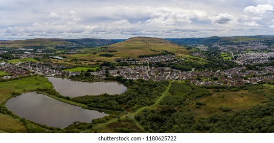 Aerial view of a small town called Beaufort in South Wales UK