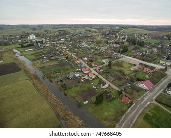 Aerial view of small town Kraziai in Zemaitija, Lithuania
