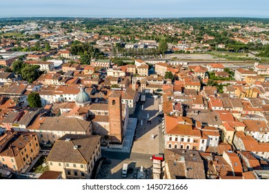 Aerial view of small town Pietrasanta in Versilia northern Tuscany in province of Lucca, main square with the Duomo Cathedral of St. Martin, Italy