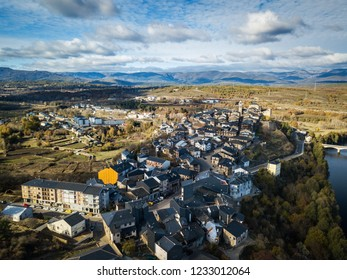 Aerial view of the small town of Puebla de Sanabria in Northwest Spain, one of the oldest settlements in the province of Zamora.