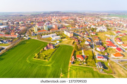 Aerial view to small town Vodnany in South Bohemia Region, which has around 7,000 inhabitants. It is great destination for soft or sustainable tourism and hiking.