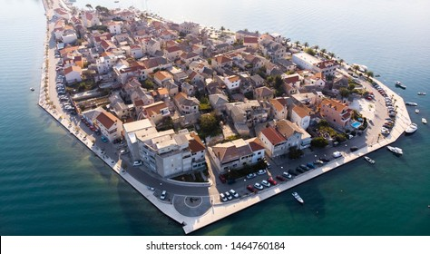 Aerial view of small town Vranjic, right next to Split, Croatia