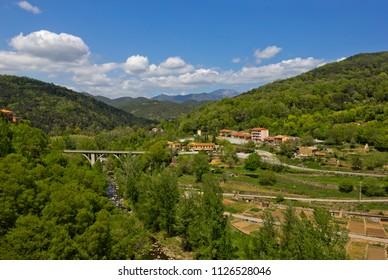Aerial view of small village Castellfollit de la Roca, Spain