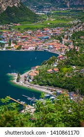 aerial view of a small village Nago-Torbole on the north of Garda lake, Italy