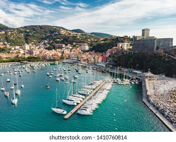 Aerial view of small yachts and fishing boats in Lerici town, located in the province of La Spezia in Liguria, part of the Italian Riviera, Italy.