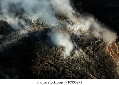 Aerial view of Smoking caldera of an active volcano in Hawaii