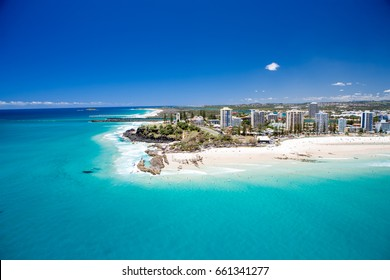 An aerial view of Snapper Rocks on Queensland's Gold Coast in Australia