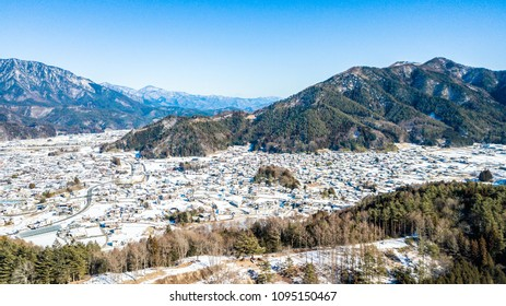 Aerial view of snow in winter at Yamanouchi in Nagano, Japan