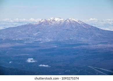An aerial view of snow-capped Mount Ruapehu, an active volcano at the southern end of the Taupo Volcanic Zone in Tongariro National Park, in the North Island of New Zealand.