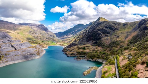 Aerial view of the Snowdonia National Park close to the historic Dolbadarn Castle in Llanberis, Snowdonia - Wales - United Kingdom