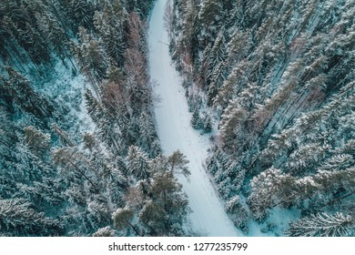Aerial view of snowy forest with a road Captured from above. Drone photography