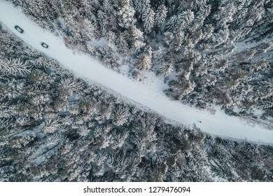 Aerial view of snowy forest with a road.