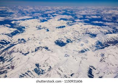 Aerial view of snowy Italian Mountain near Denver, Colorado