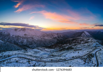 Aerial view of the snowy mountain Taygetus (also known as Taugetus or Taygetos) above Messenia unit in Peloponnese, Greece. Amazing natural scenery of the highest mountain in Peloponnese during winter