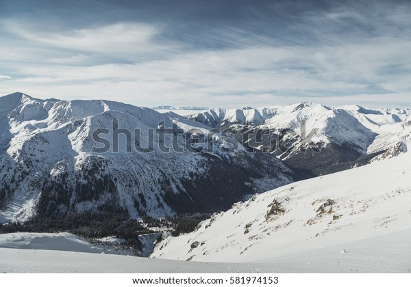 Aerial view of the snowy peaks of the Tatry mountains on the border of Poland and Slovakia.