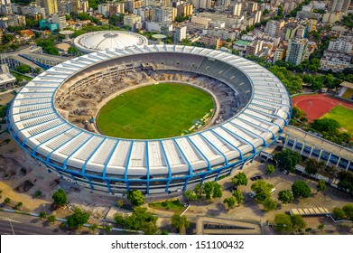 Aerial view of a soccer field in a city, Maracana Stadium, Rio De Janeiro, Brazil