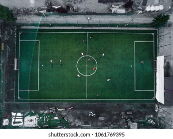 Aerial view of a soccer / football match