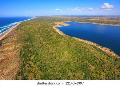 Aerial view of Sodwana Bay National Park within the iSimangaliso Wetland Park, Maputaland, an area of KwaZulu-Natal on the east coast of South Africa.