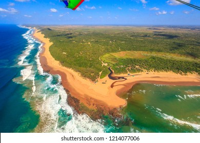 Aerial view of Sodwana Bay National Park within the iSimangaliso Wetland Park, Maputaland, an area of KwaZulu-Natal on the east coast of South Africa. Indian Ocean landscape.