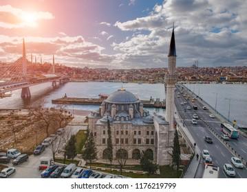 Aerial view of Sokollu Mehmet Pasa Mosque and The Bridges in Istanbul Turkey