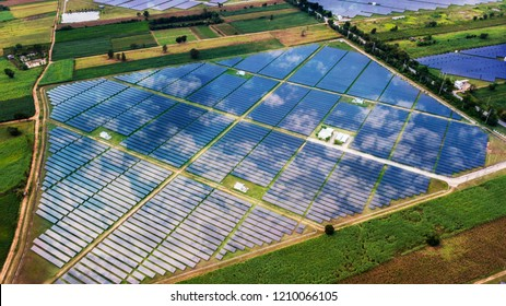 aerial view with solar cell farm at Thailand