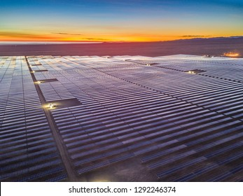 An aerial view Solar Energy, a clean technology to reduce CO2 emissions and the best place for Solar Energy is the Atacama Desert at south Peru where we can find the biggest PV Plant in the country