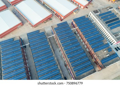 aerial view of the solar energy on rooftop