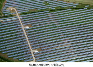 aerial view of a solar farm in England